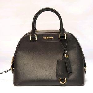 Calvin Klein Clara Leather Dome Satchel Handbag